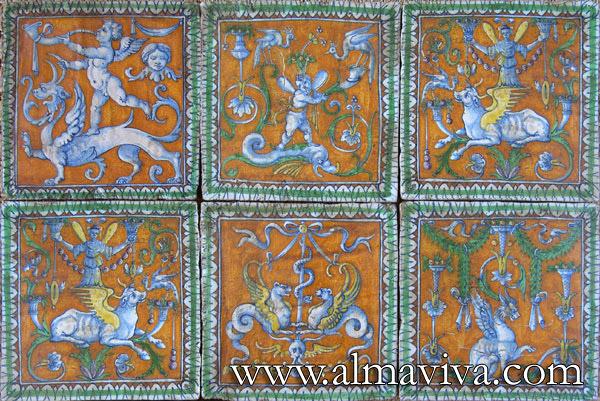 Ref. R12 - Urbino tiles. Grotesque, 20x20 cm (about 8''x8'')