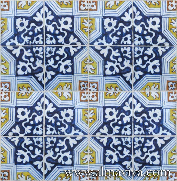 Almaviva Renaissance tiles - Ref. RC20 - Tiles designing a cross, from Antwerp (Belgium), 16th c.