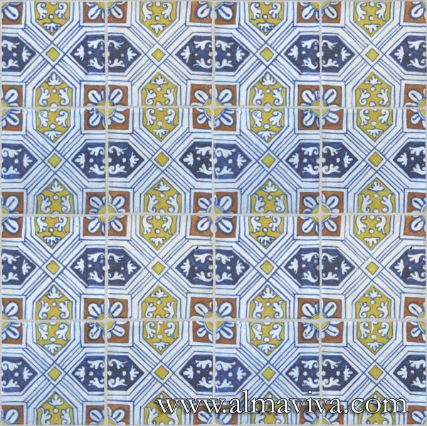 Almaviva Renaissance tiles - Ref. RC21 - Geometric tiles from Antwerp (Belgium), 16th c.
