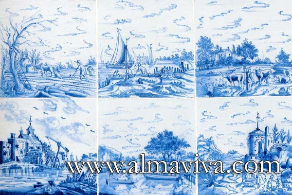 Almaviva Delft tile - Ref. D25 - Blue landscapes. Tiles 20x20 cm (about 8''x8'')