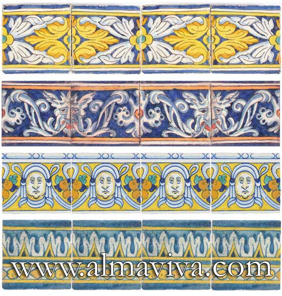 Almaviva Renaissance tiles - Ref. RC02 - Ceramic friezes, 15x15 cm (about 6''x6'')