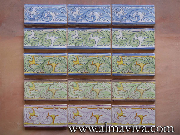 Almaviva Renaissance tiles - Ref. RC07 - Friezes ''Acanthus leaf''. A same pattern, the acanthus leaf, drawn in different colors. To show an example of the large variety of what we can draw