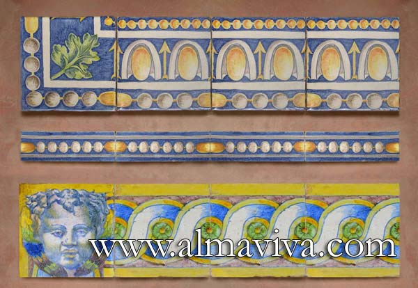 Almaviva Renaissance tiles - Ref. RC04 - Friezes ''Abaquesne''. These Renaissance friezes are directly inspired by Greco-Roman art