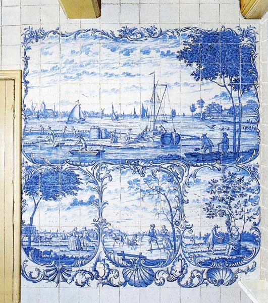 Almaviva Delft tile - Ref. D22 - The four seasons. Tile panels depicting the 4 seasons with rocaille framing. Tiles 13x13 or 15x15 cm (about 5''x5'' or 6''x6'')