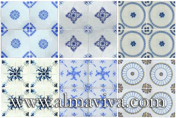 Almaviva Delft tile - Ref. DC12 - Blue geometric tiles. Tiles 13x13 or 15x15 cm (about 5''x5'' or 6''x6'')