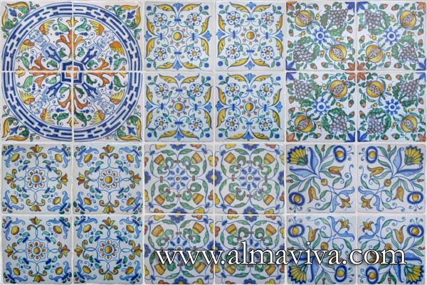 Ref. DC20 - Renaissance geometric tiles. Tiles 13x13 or 15x15 cm (about 5''x5'' or 6''x6'')