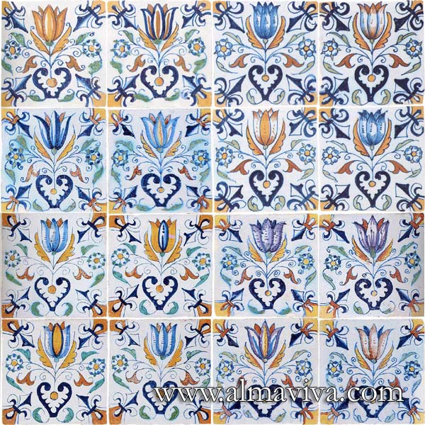 Almaviva Delft tile - Ref. DC26 - Tulips. Tiles 13x13 or 15x15 cm (about 5''x5'' or 6''x6'')