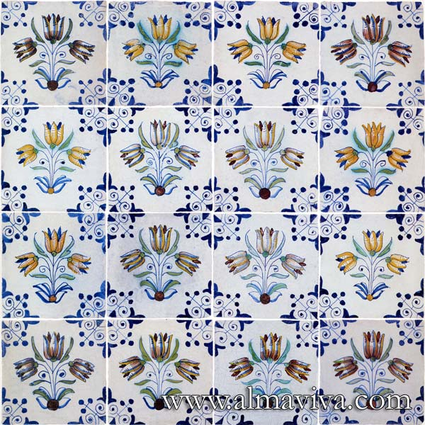 Almaviva Delft Almaviva - Ref. DC27 - Bouquet 3 tulips. Tiles 13x13 or 15x15 cm (about 5''x5'' or 6''x6'')