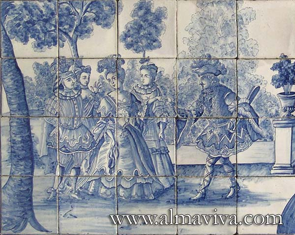 Azulejos Almaviva-Ref. A70 - Dance scene. Detail of a larger panel, 18th c. inspired. Tiles 13x13 or 15x15 cm (about 5''x5'' or 6''x6'')