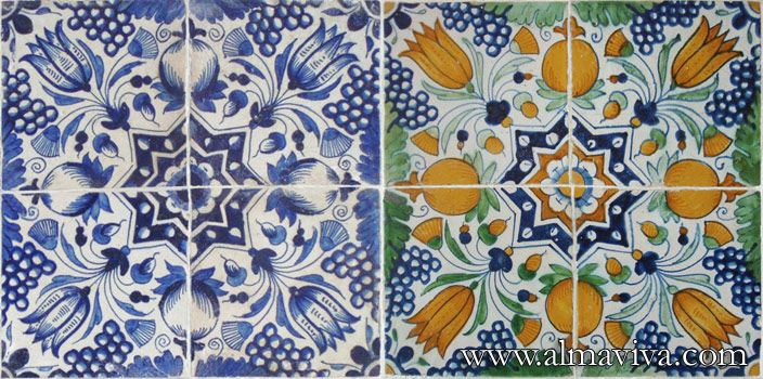 Almaviva Delft tile - Réf. DC29 - Tulips and pomegranates forming a star. Tiles 15x15 or 20x20 cm (about 6''x6'' or 8''x8'')