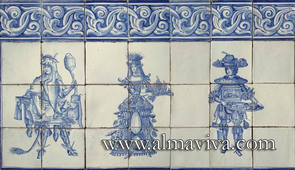 Azulejos Almaviva-Ref. AC10 - 17th c. Professions. 15x15 cm tiles (about 6''x6''). Reproduction of engravings representing the costumes of professions. Here, the butcher, the fruiterer and the pastrycook